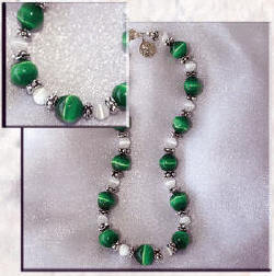 Dog or cat collar made of Large Green Cat's Eye with White Cat's Eye