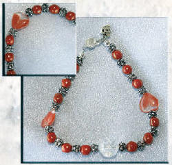 Pet collar made of Red Glass Beads with Glass Hearts